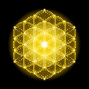 Golden Cosmic Flower of Life